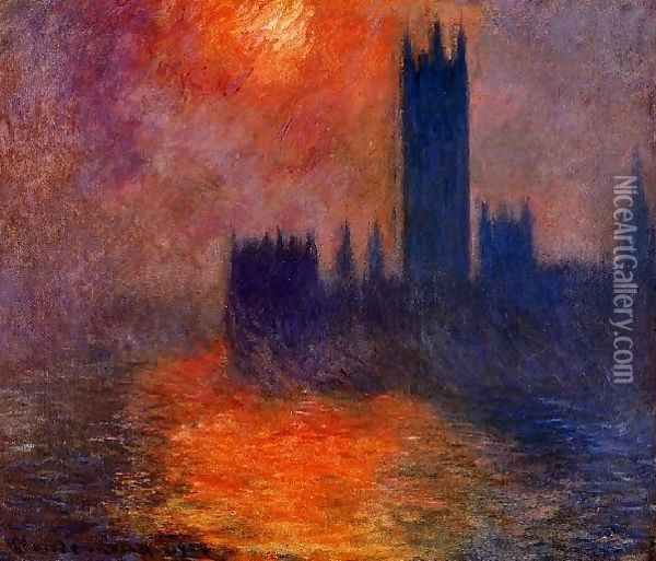 Houses Of Parliament Sunset Oil Painting - Claude Oscar Monet