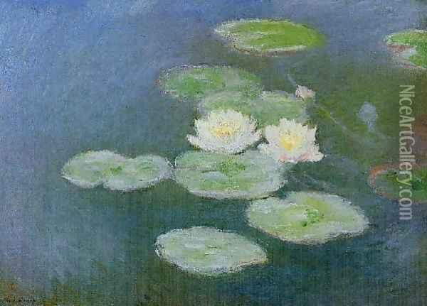 Water Lilies Evening Effect Oil Painting - Claude Oscar Monet