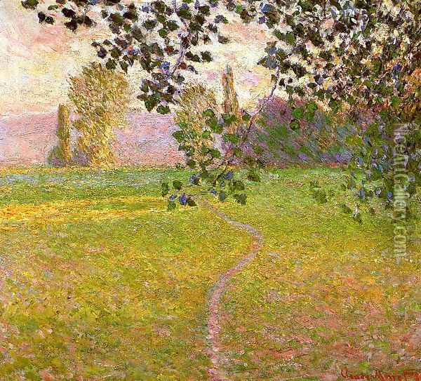 Morning Landscape Giverny Aka Landscape In The Morning Oil Painting - Claude Oscar Monet