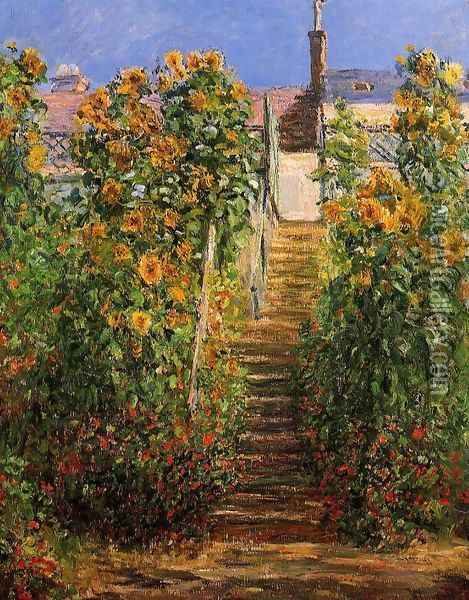 The Steps At Vetheuil Oil Painting - Claude Oscar Monet