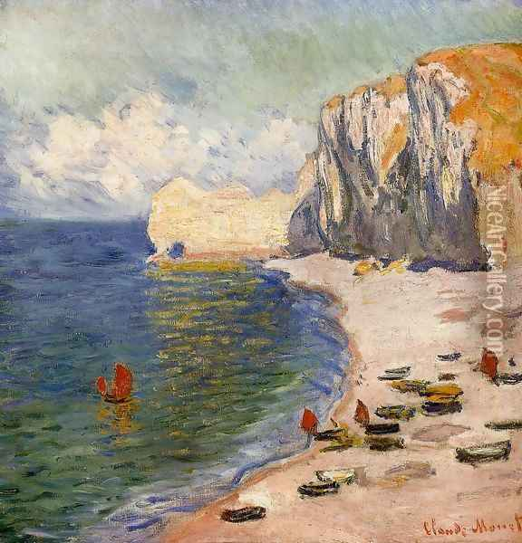 The Beach And The Falaise D Amont Oil Painting - Claude Oscar Monet