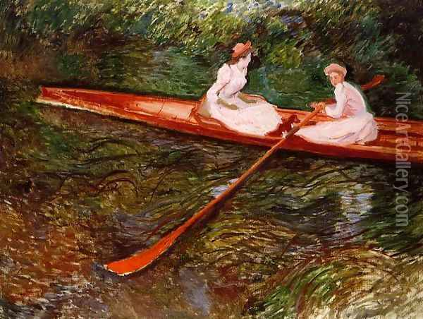 The Pink Skiff Oil Painting - Claude Oscar Monet