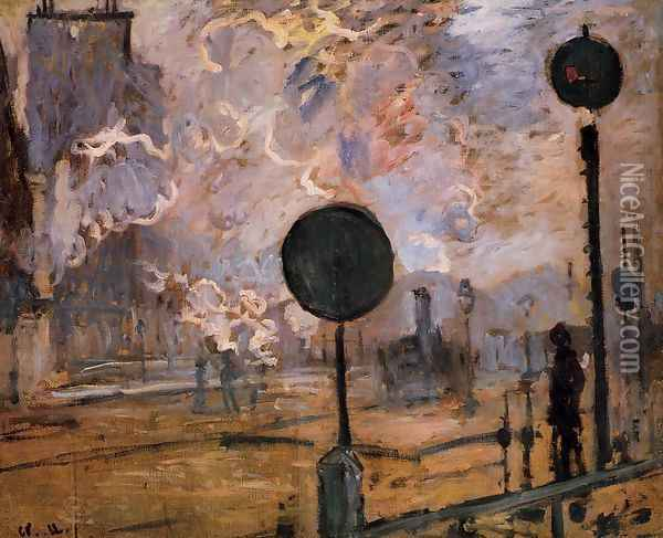 Exterior Of Saint Lazare Station Aka The Signal Oil Painting - Claude Oscar Monet