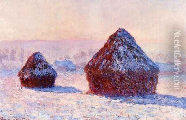 Grainstacks In The Morning Snow Effect Oil Painting - Claude Oscar Monet