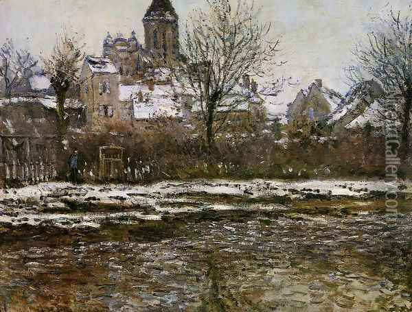 The Church At Vetheuil Snow Oil Painting - Claude Oscar Monet