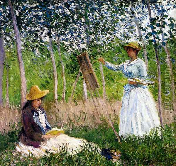 In The Woods At Giverny - BlancheHoschede Monet At Her Easel With Suzanne Hoschede Reading Oil Painting - Claude Oscar Monet