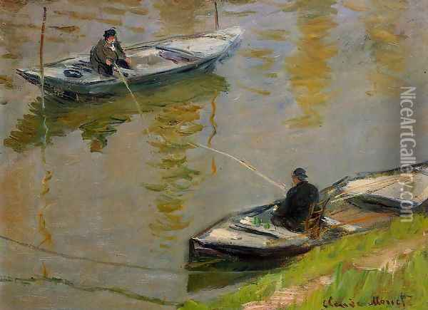 Two Anglers Oil Painting - Claude Oscar Monet