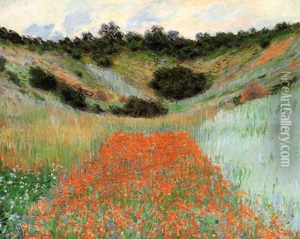 Poppy Field In A Hollow Near Giverny Oil Painting - Claude Oscar Monet