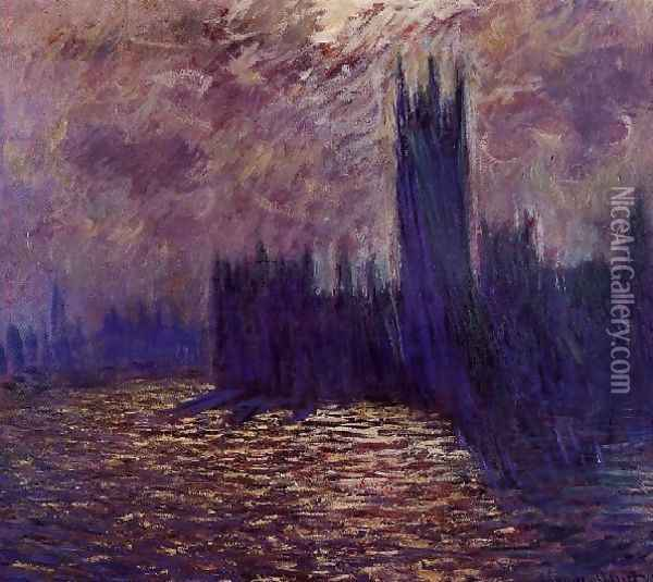 Houses Of Parliament Reflection Of The Thames Oil Painting - Claude Oscar Monet