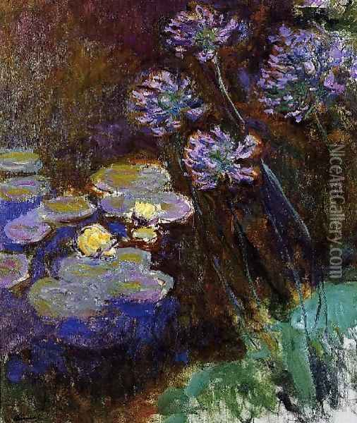 Water Lilies And Agapanthus59 Oil Painting - Claude Oscar Monet