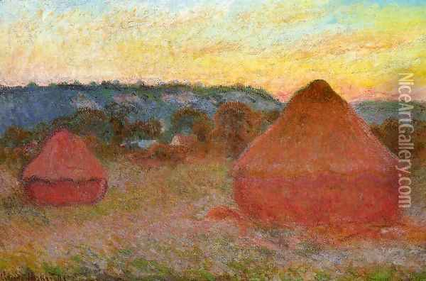 Two Grainstacks At The End Of The Day Autumn Oil Painting - Claude Oscar Monet