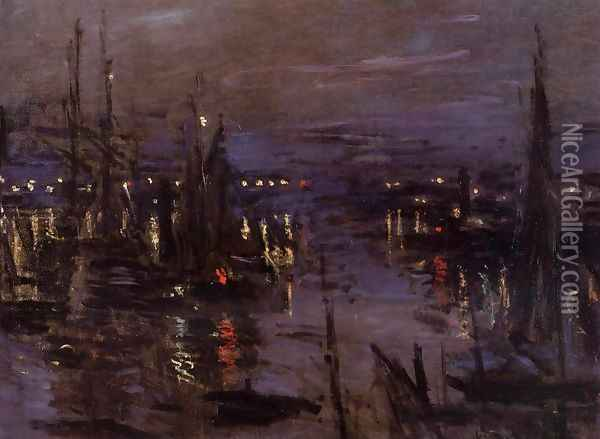The Port Of Le Havre Night Effect Oil Painting - Claude Oscar Monet