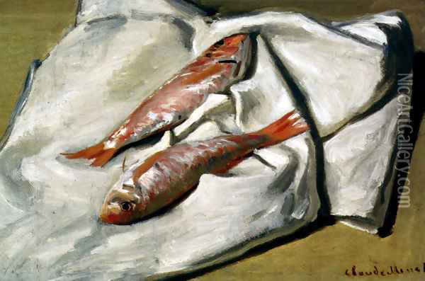 Red Mullet Oil Painting - Claude Oscar Monet