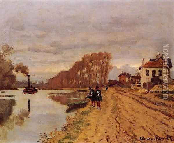 Infantry Guards Wandering Along The River Oil Painting - Claude Oscar Monet