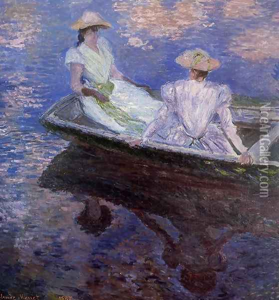 Young Girls In A Row Boat Oil Painting - Claude Oscar Monet