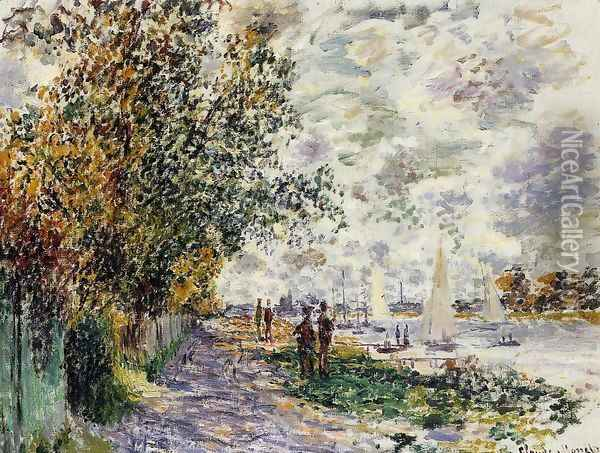 The Riverbank At Petit Gennevilliers Oil Painting - Claude Oscar Monet