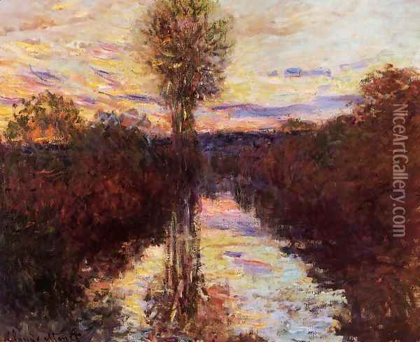 The Small Arm Of The Seine At Mosseaux Evening Oil Painting - Claude Oscar Monet