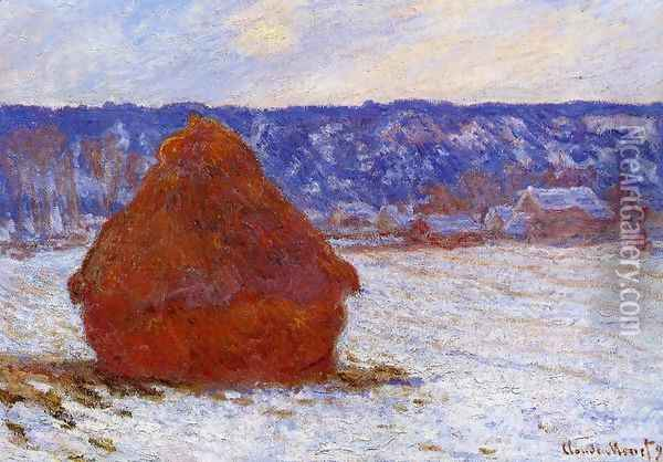 Grainstack In Overcast Weather Snow Effect Oil Painting - Claude Oscar Monet