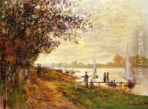 The Riverbank At Le Petit Gennevilliers Sunset Oil Painting - Claude Oscar Monet