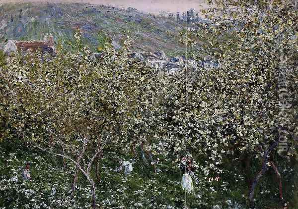 Vetheuil Flowering Plum Trees Oil Painting - Claude Oscar Monet
