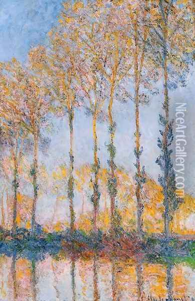 Poplars White And Yellow Effect Oil Painting - Claude Oscar Monet