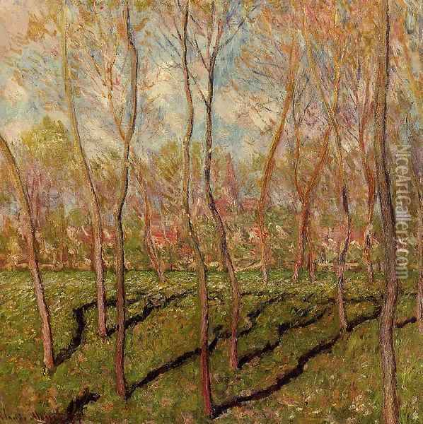 Trees In Winter View Of Bennecourt Oil Painting - Claude Oscar Monet