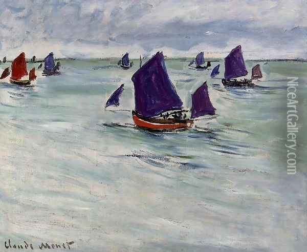 Fishing Boats Off Pourville Oil Painting - Claude Oscar Monet