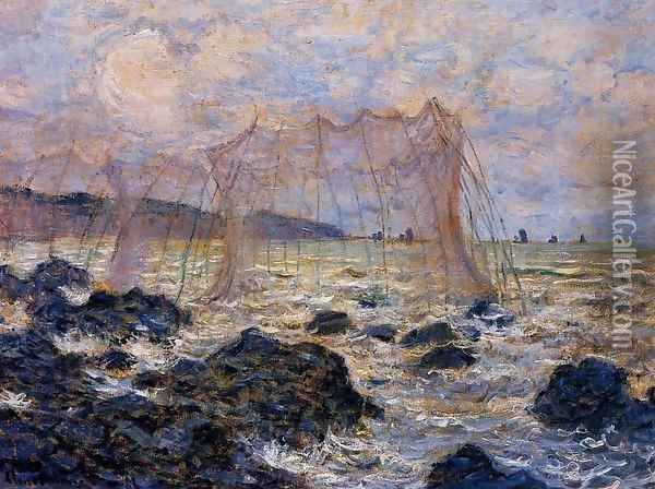 Fishing Nets At Pourville Oil Painting - Claude Oscar Monet