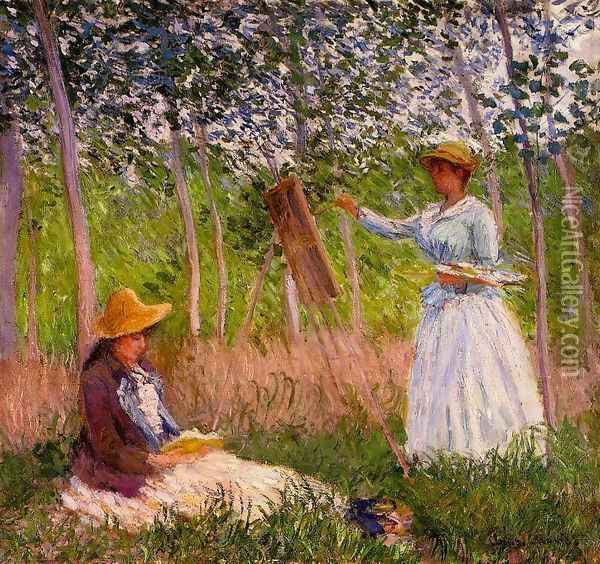 Suzanne Reading And Blanche Painting By The Marsh At Giverny Oil Painting - Claude Oscar Monet