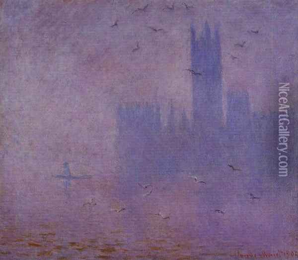 Houses of Parliament, Seagulls I Oil Painting - Claude Oscar Monet