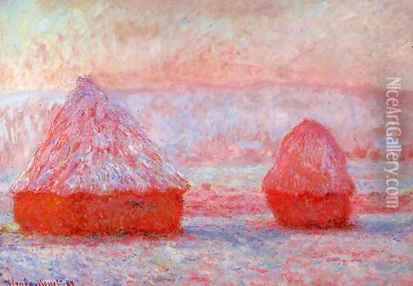 Grainstacks At Giverny Morning Effect Oil Painting - Claude Oscar Monet