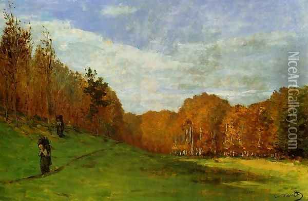 Woodbearers In Fontainebleau Forest Oil Painting - Claude Oscar Monet