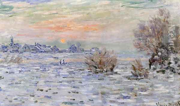Winter On The Seine Lavacourt Oil Painting - Claude Oscar Monet