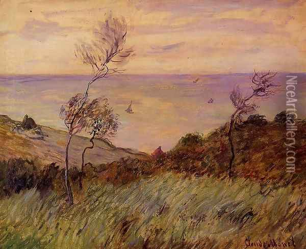 The Cliffs Of Varengeville Gust Of Wind Oil Painting - Claude Oscar Monet