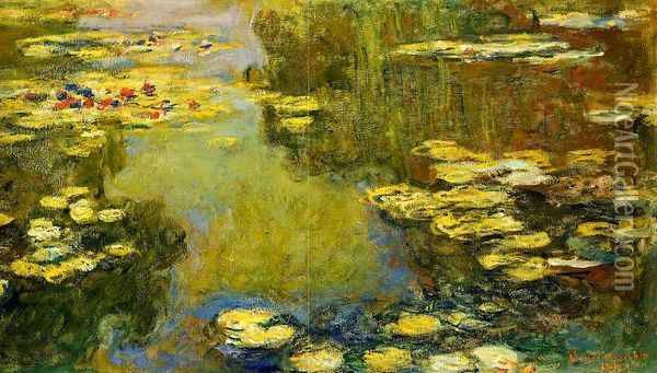 The Water-Lily Pond (detail) I Oil Painting - Claude Oscar Monet