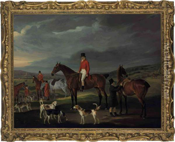 The Honorable George Petre With The Quorn At Rolleston Oil Painting - John Snr Ferneley