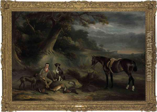 Charles Hibbert Of Baldock,  Hertfordshire With A Bay Hunter, Two Pointers And The Day's Bag On  Letchworth Common Oil Painting - John Snr Ferneley