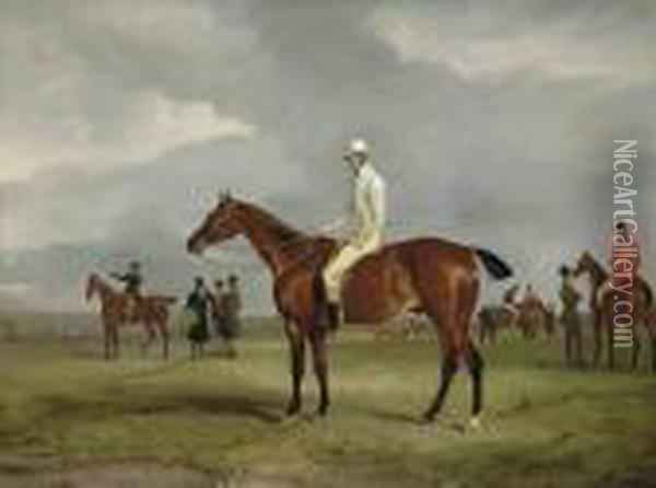 Clinker With Captain Horatio Ross Up, Radical With Captain Douglasup And Other Horses Oil Painting - John Snr Ferneley