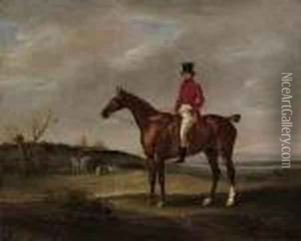 Colonel Standen On His Chestnut Hunter With The Quorn Huntsmen Andhounds At A Covert Oil Painting - John Snr Ferneley