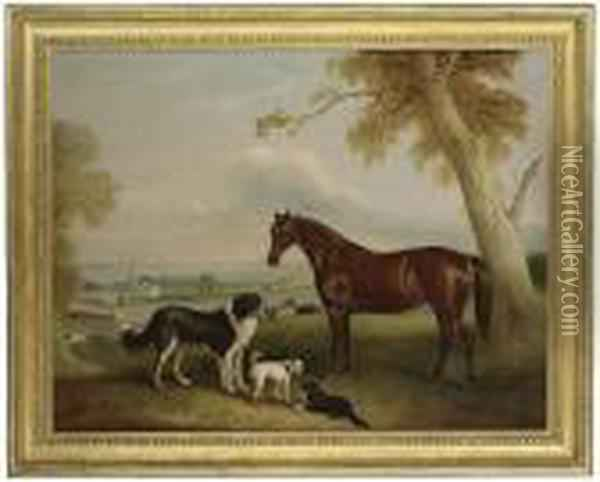 A Hunter And Three Dogs Oil Painting - John Snr Ferneley