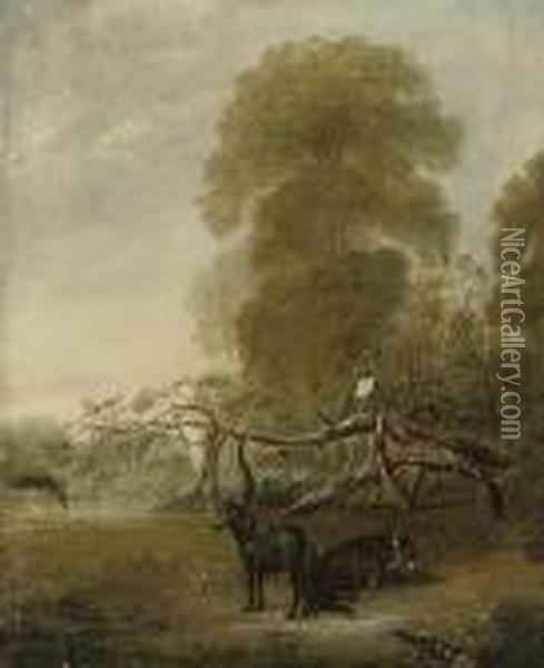 Ribston Apple Tree With Favorite Pony And Donkey Oil Painting - John Snr Ferneley