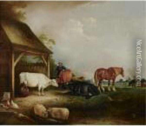 A Herdsman With Cattle, Sheep And Chickens Oil Painting - John Snr Ferneley