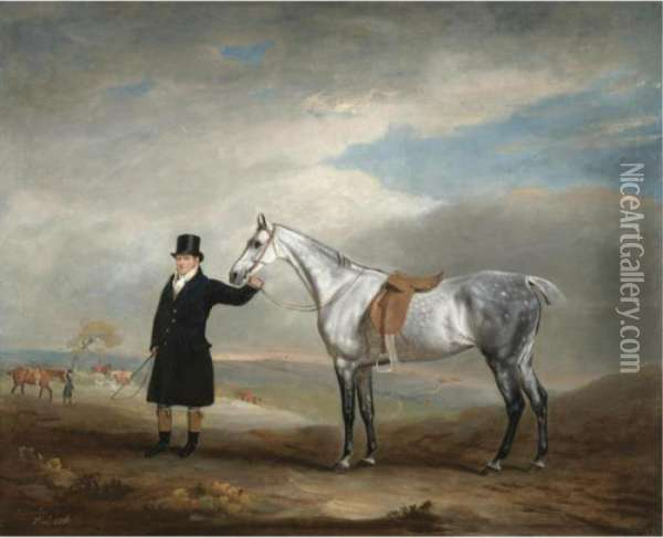 Lord Herbert's Grey Mare Being Held By A Groom, A Hunt Beyond Oil Painting - John Snr Ferneley