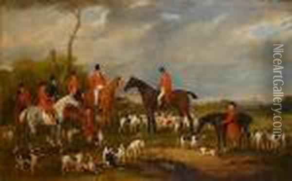 Sir Richard Sutton Bart, And His  Hounds, With Portraits Of Gentlemen Of The Burton Hunt, Lincoln  Cathedral In The Distance Oil Painting - John Snr Ferneley