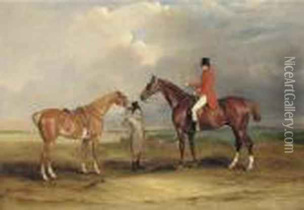 Portrait Of John Drummond On A  Hunter, With A Groom Holding His Second Horse, In A Landscape, A Hunting  Party Beyond Oil Painting - John Snr Ferneley
