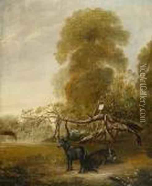 Original Ribston Apple Tree With Favourite Pony And Donkey Oil Painting - John Snr Ferneley