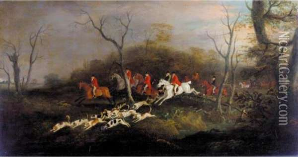 A Hunt In Full Cry Oil Painting - John Snr Ferneley