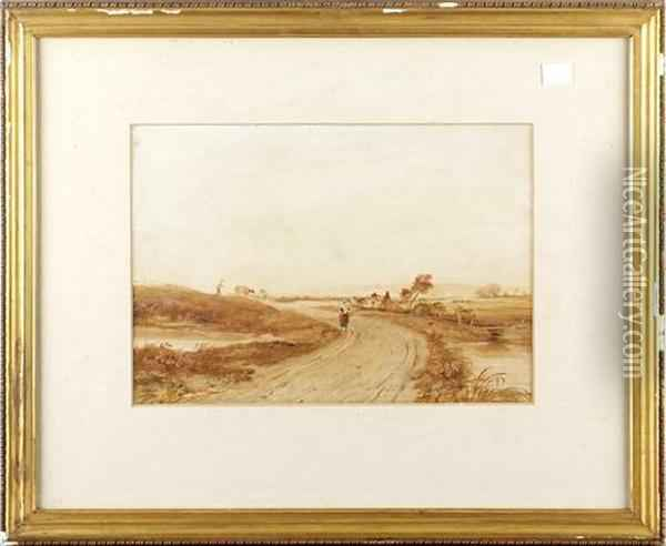 Figure On A Track In An Extensive Landscape Oil Painting - Anthony Vandyke Copley Fielding