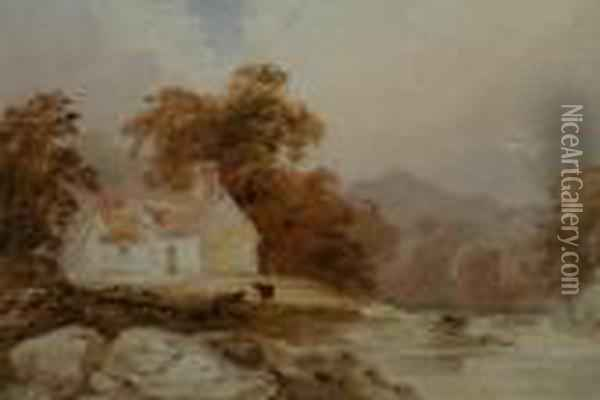 A Cottage By The Stream Oil Painting - Anthony Vandyke Copley Fielding