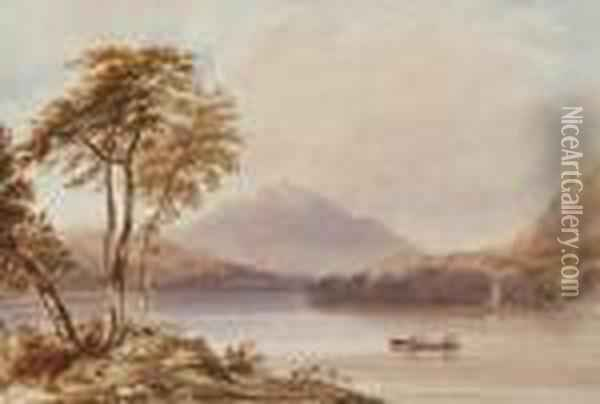 Lake View With Distant Mountain And Small Boats Oil Painting - Anthony Vandyke Copley Fielding